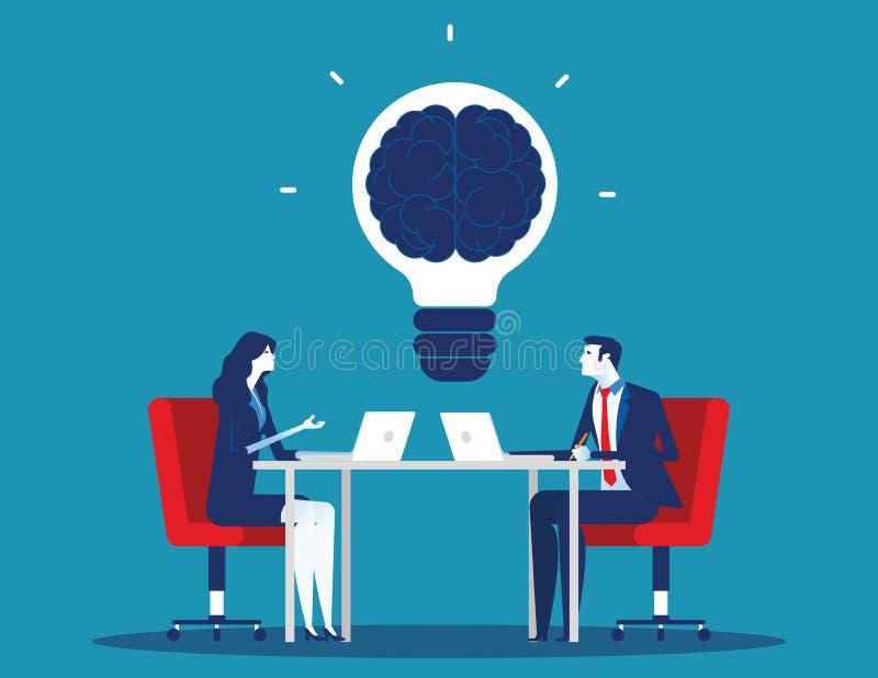Biznes drużyna z brainstorming Poj?cie biznesowa wektorowa ilustracja Płaski charakter kreskówki projekta styl ilustracja wektor