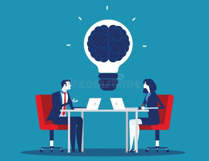 Biznes drużyna z brainstorming Poj?cie biznesowa wektorowa ilustracja Płaski charakter kreskówki projekta styl ilustracji