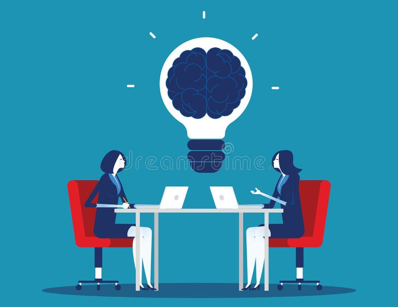 Biznes drużyna z brainstorming Poj?cie biznesowa wektorowa ilustracja Płaski charakter kreskówki projekta styl royalty ilustracja
