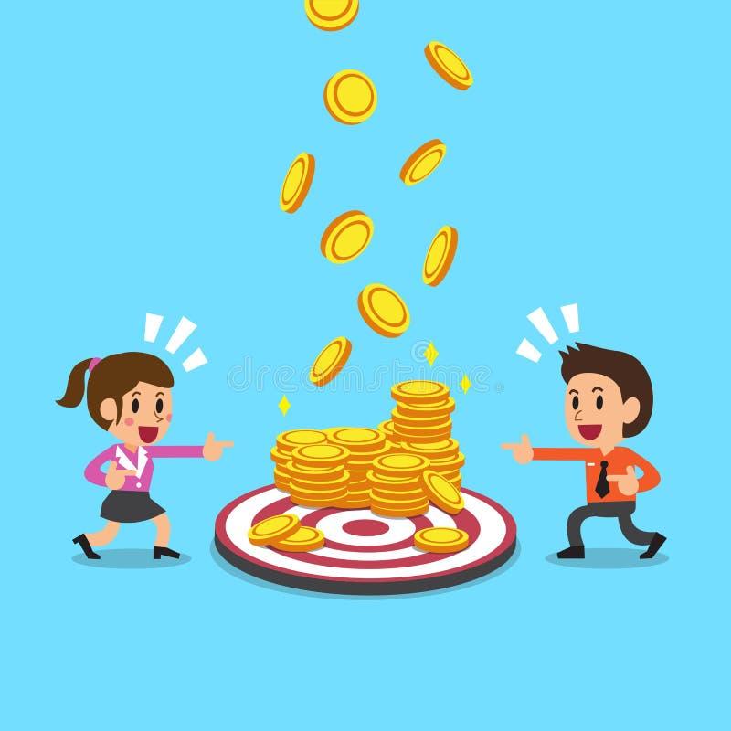 Biznes drużyna z celu i pieniądze monetami royalty ilustracja