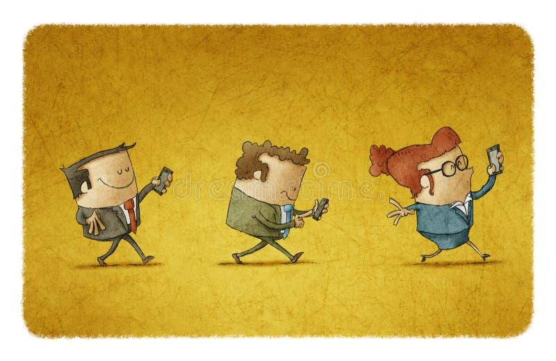 Biznes drużyna z ich telefonami komórkowymi ilustracja wektor