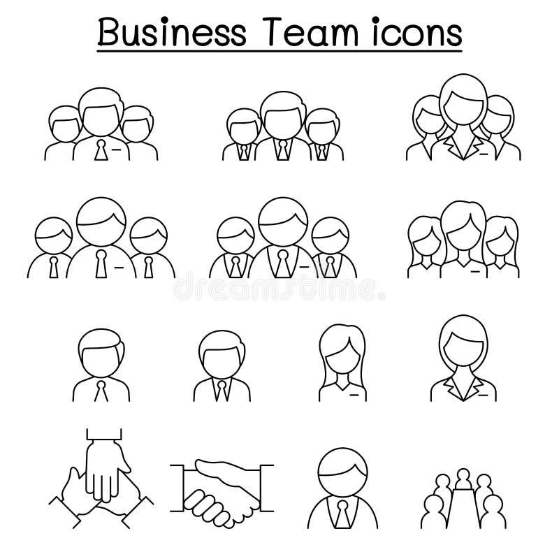 Biznes drużynowa ikona ustawiająca w cienkim kreskowym stylu ilustracji