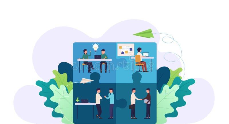 Biznes drużyny łamigłówki pojęcie Praca zespołowa, współpraca i partnerstwo Brainstorming, royalty ilustracja