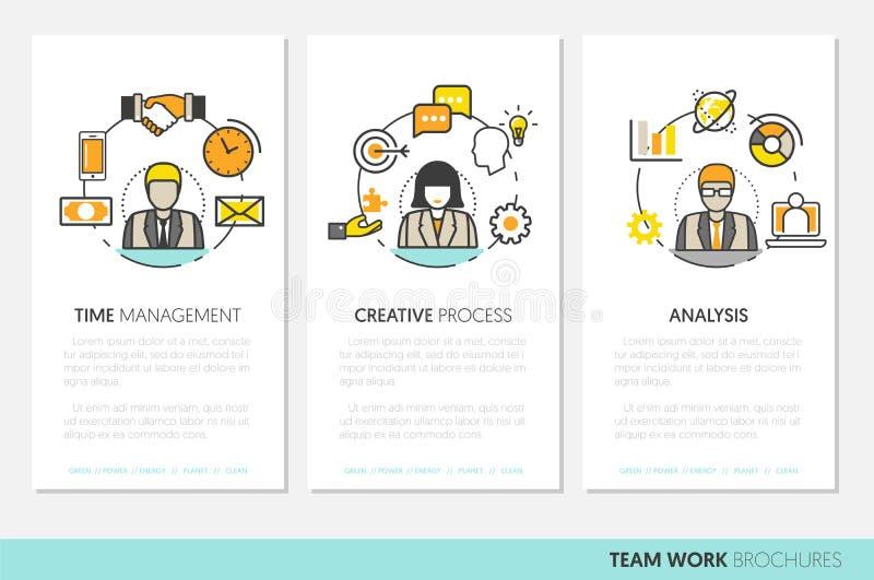Biznes drużyny pracy broszurki szablon z Kreskowej sztuki Cienkimi ikonami ilustracja wektor