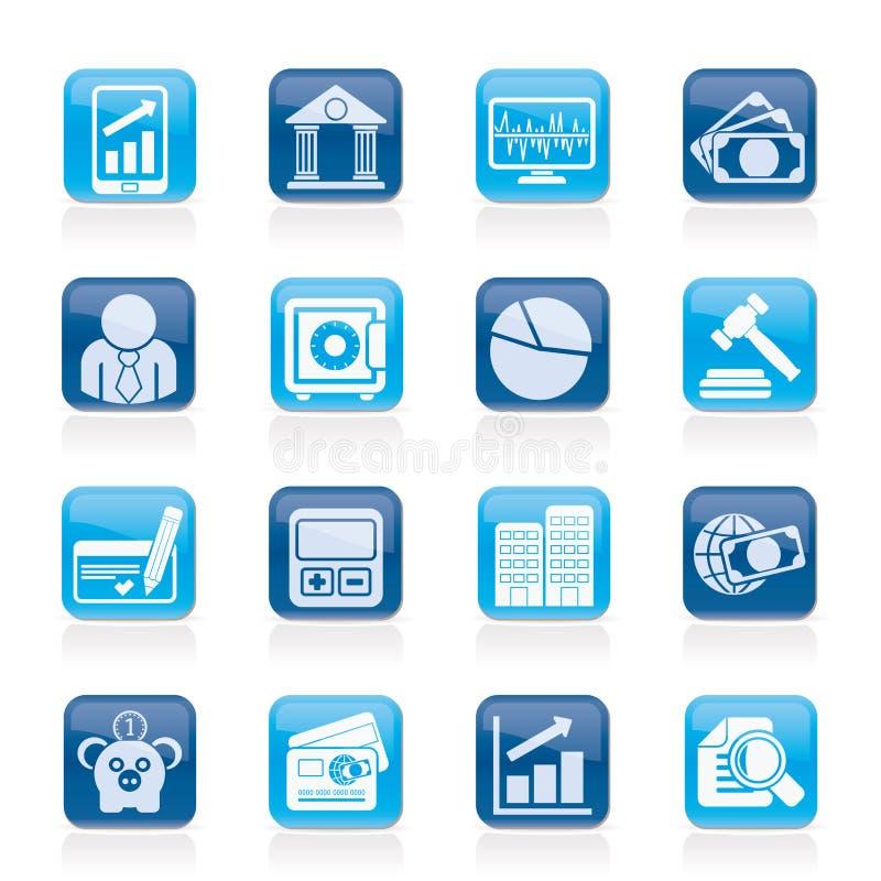 Biznes finanse i bank ikony, ilustracji