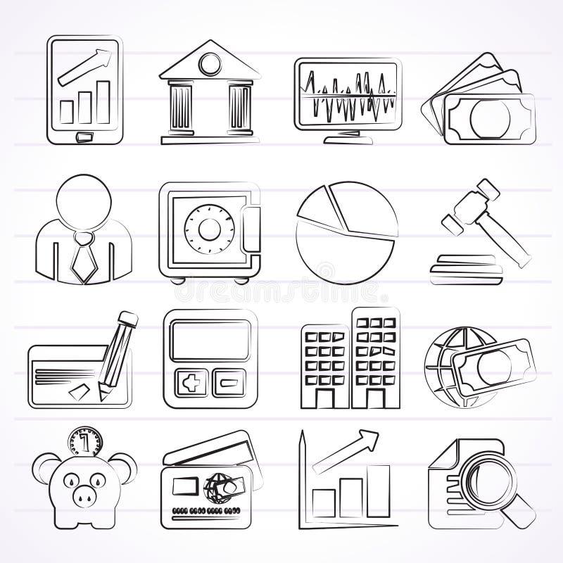 Biznes finanse i bank ikony, royalty ilustracja