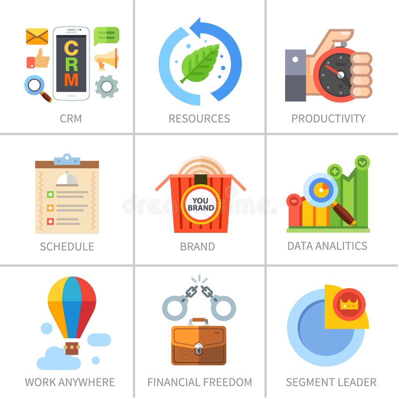 Biznes, finanse, marketing i zarządzanie, ilustracja wektor