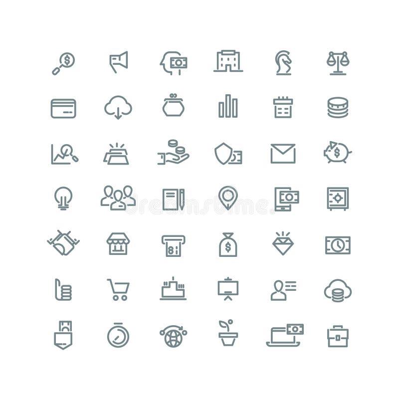 Biznes, finanse, planowanie, analityka, bankowość, filia wektoru linii marketingowe ikony ustawiać ilustracja wektor