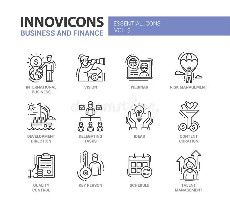 Biznes, finanse projekta nowożytne cienkie kreskowe ikony i piktogramy royalty ilustracja