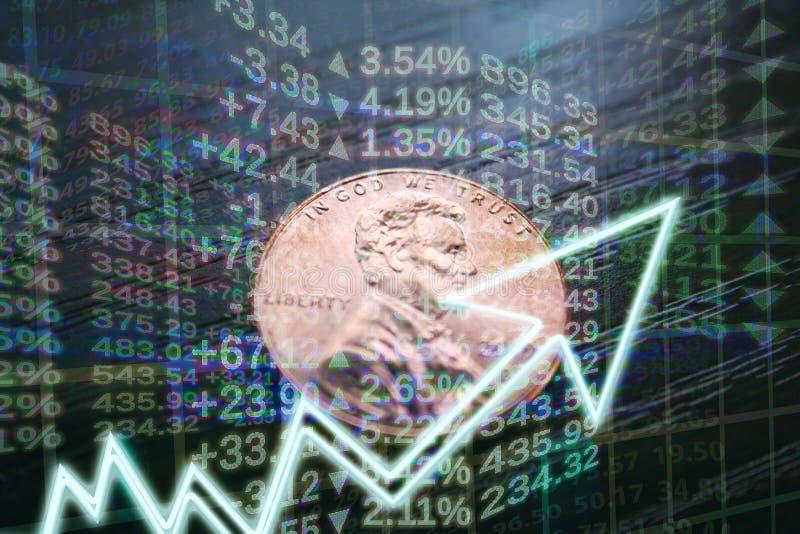 Biznes & finanse Z 2019 centami Z Akcyjnym wykresem zdjęcia stock