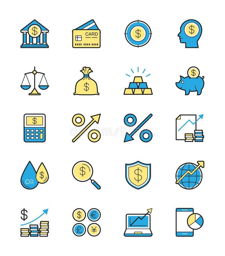 Biznes Finansowa ikona, Monochromatyczny kolor - Wektorowa ilustracja ilustracja wektor