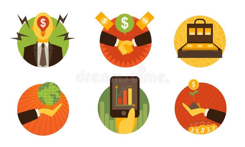 Biznes finansowe ikony na białym tle ustawiają 1 Wektorowy illustr ilustracja wektor