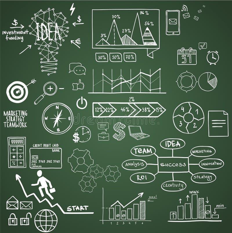 Biznes, finansowi elementy i ikony, doodle ręka ilustracji