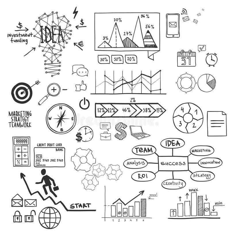Biznes, finansowi elementy i ikony, doodle ręka rysujący nakreślenie ilustracja wektor