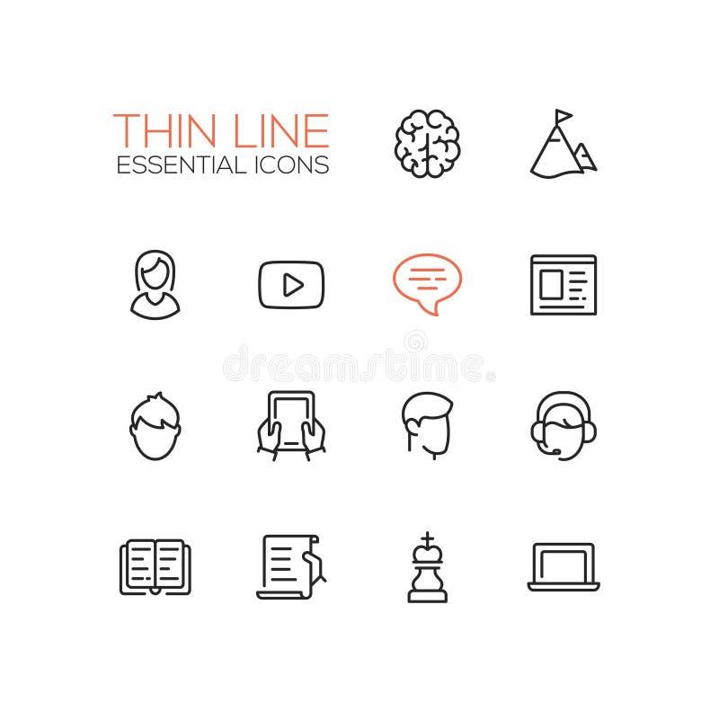 Biznes, Finansowi symbole - gęste kreskowe projekt ikony ustawiać ilustracji