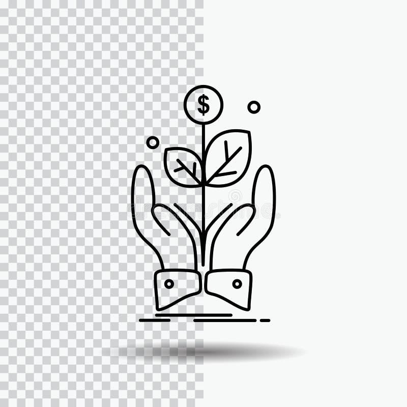 biznes, firma, przyrost, roślina, wzrost Kreskowa ikona na Przejrzystym tle Czarna ikona wektoru ilustracja ilustracja wektor