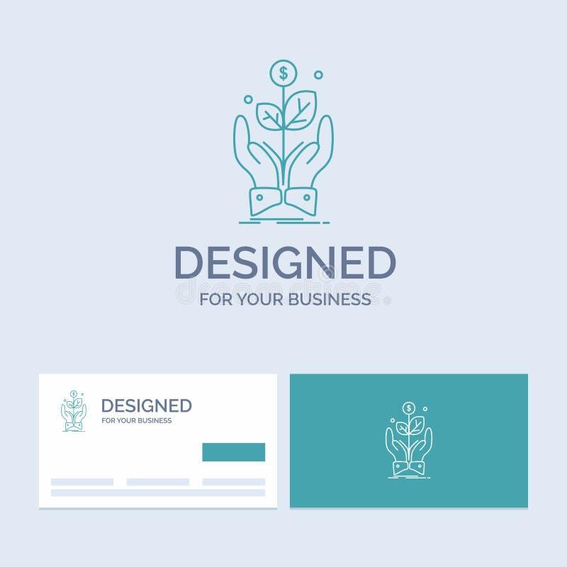 biznes, firma, przyrost, roślina, wzrosta logo linii ikony Biznesowy symbol dla twój biznesu Turkusowe wizyt?wki z gatunku logo ilustracja wektor