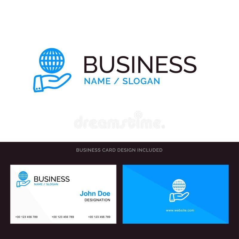 Biznes, Globalny, Nowożytny, usługi Błękitny Biznesowy logo i wizytówka szablon Przodu i plecy projekt royalty ilustracja