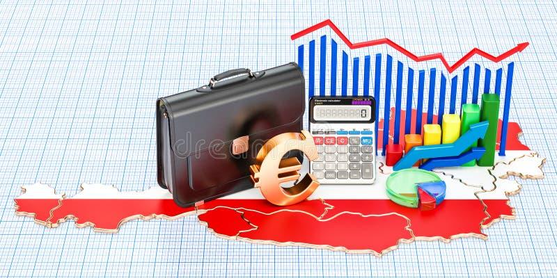 Biznes, handel i finanse w Austria pojęciu, 3D rendering ilustracja wektor