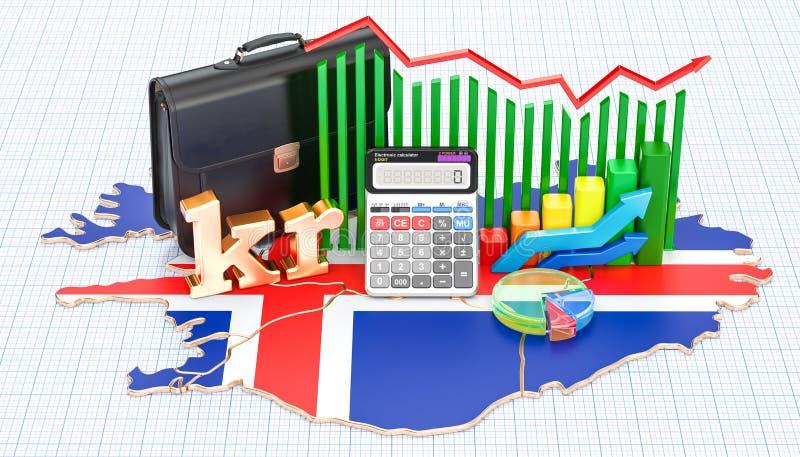 Biznes, handel i finanse w Iceland pojęciu, 3D rendering royalty ilustracja