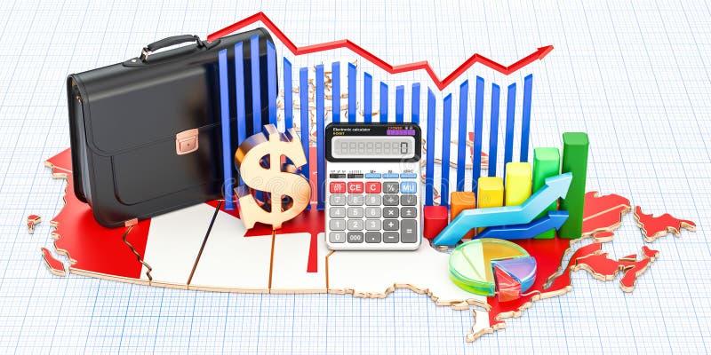 Biznes, handel i finanse w Kanada pojęciu, 3D rendering ilustracja wektor