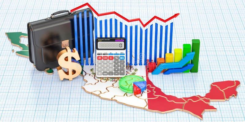 Biznes, handel i finanse w Meksyk pojęciu, 3D rendering royalty ilustracja