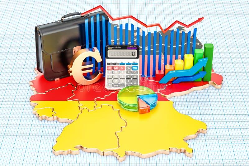 Biznes, handel i finanse w Niemcy pojęciu, 3D rendering ilustracja wektor