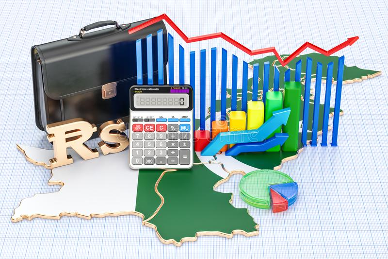 Biznes, handel i finanse w Pakistan pojęciu, 3D rendering royalty ilustracja