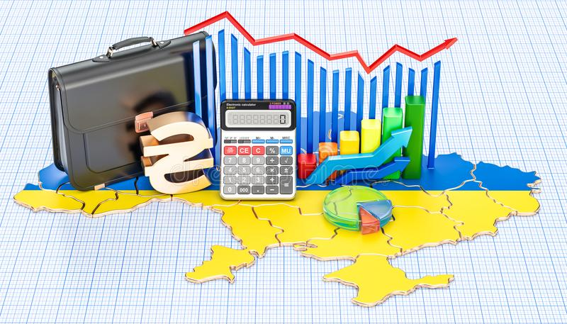 Biznes, handel i finanse w Ukraina pojęciu, 3D rendering royalty ilustracja