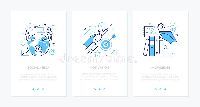 Biznes i edukacja - set kreskowego projekta stylu sieci pionowo sztandary ilustracji