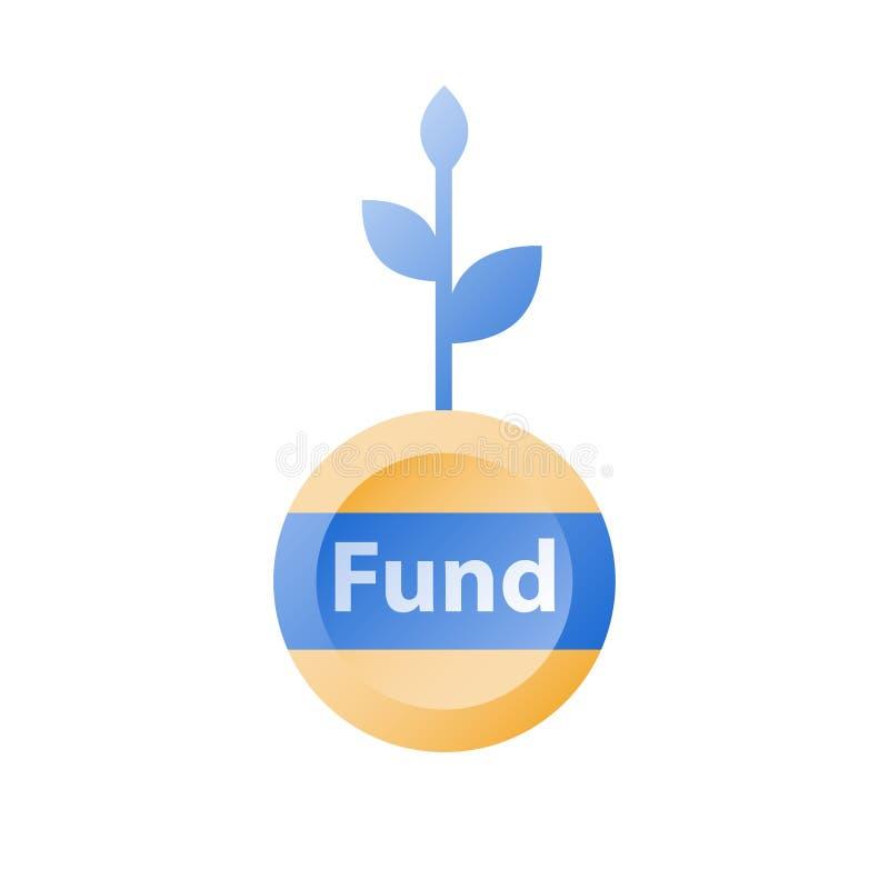 Biznes i finanse, inwestujemy fundusz, wska?nik rentowno?ci, funduszu d?wiganie, dochodu wzrost, dochodu przyrost, ?atwa po?yczka ilustracji