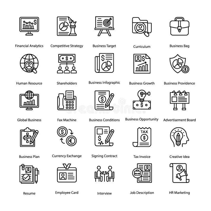 Biznes i Hr linii ikony Ustawiać ilustracji
