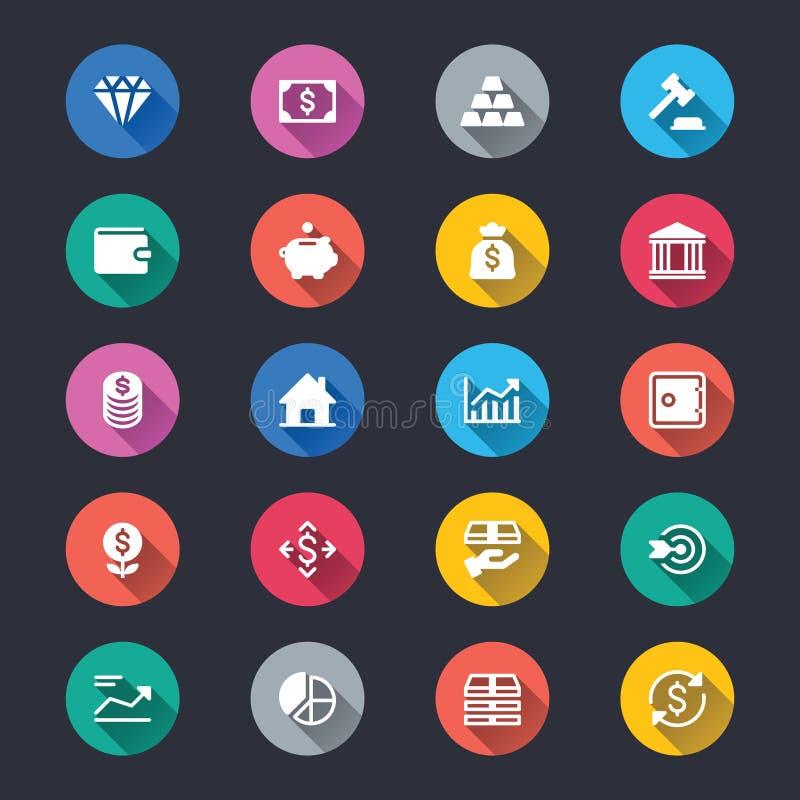 Biznes i inwestorskie proste kolor ikony royalty ilustracja