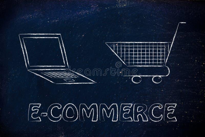 Biznes i kupować online: komputer i wózek na zakupy fotografia stock