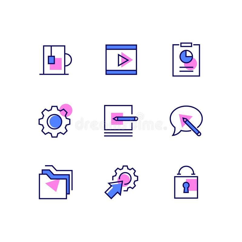 Biznes i zarządzanie - kreskowe projekta stylu ikony ustawiać ilustracji