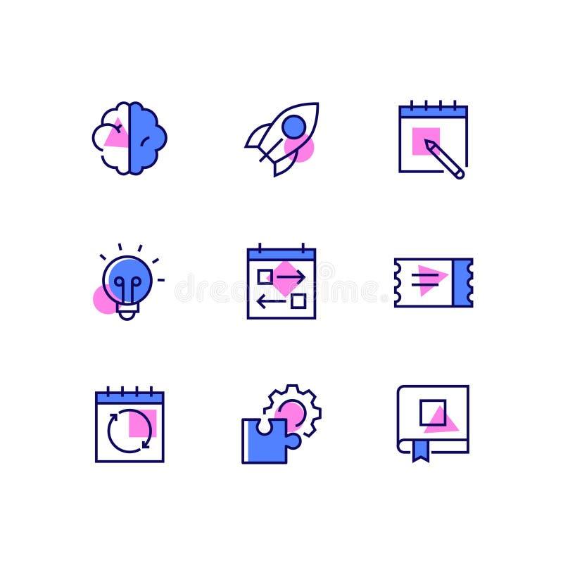 Biznes i zarządzanie - kreskowe projekta stylu ikony ustawiać royalty ilustracja