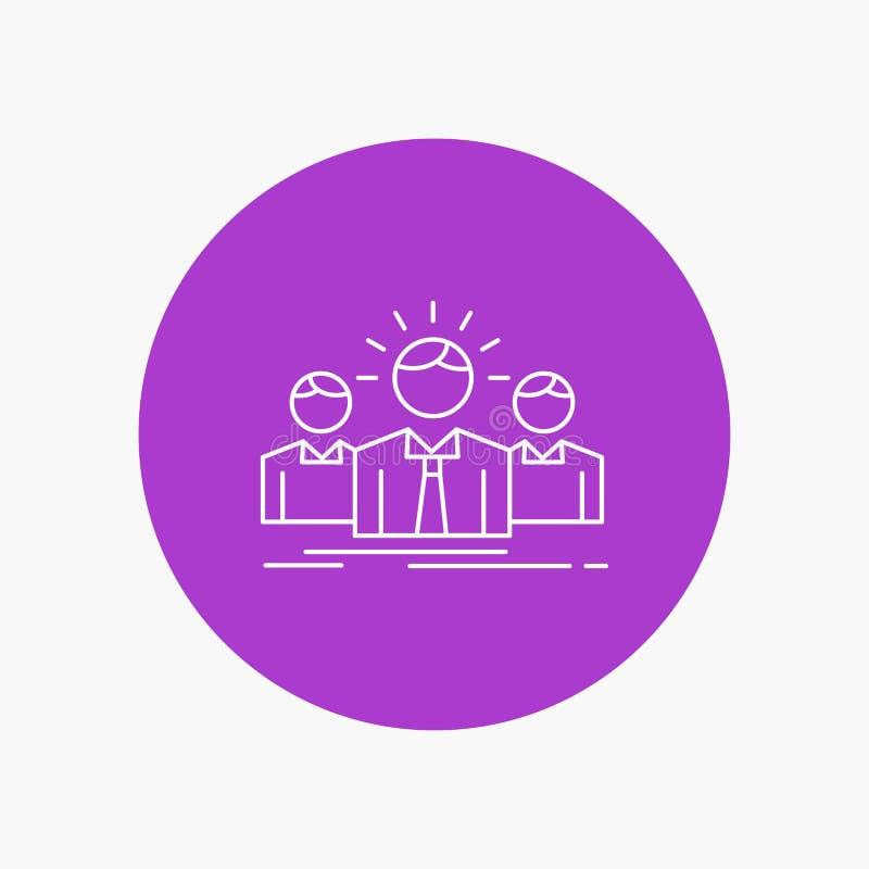 Biznes, kariera, pracownik, przedsiębiorca, lider Białej linii ikona w okręgu tle Wektorowa ikony ilustracja ilustracja wektor
