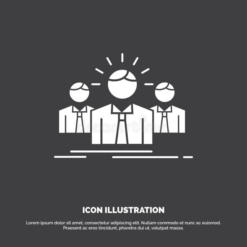 Biznes, kariera, pracownik, przedsiębiorca, lider ikona glifu wektorowy symbol dla UI, UX, strona internetowa i wisz?cej ozdoby z royalty ilustracja