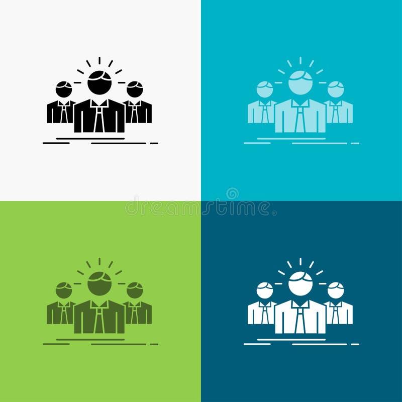 Biznes, kariera, pracownik, przedsiębiorca, lider ikona Nad Różnorodnym tłem glifu stylu projekt, projektuj?cy dla sieci i app EP ilustracji