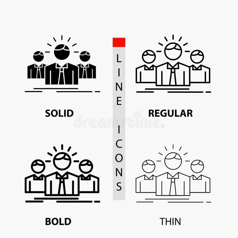Biznes, kariera, pracownik, przedsiębiorca, lider ikona w linii i glifie Cienkiej, Miarowej, Śmiałej, Projektuje r?wnie? zwr?ci?  ilustracji