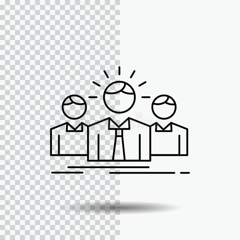 Biznes, kariera, pracownik, przedsiębiorca, lider linii ikona na Przejrzystym tle Czarna ikona wektoru ilustracja ilustracja wektor