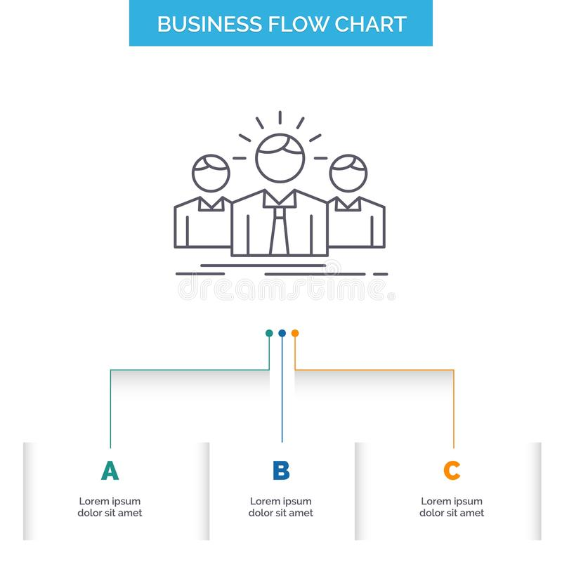 Biznes, kariera, pracownik, przedsiębiorca, lider Spływowej mapy Biznesowy projekt z 3 krokami Kreskowa ikona Dla prezentacji t?a ilustracji