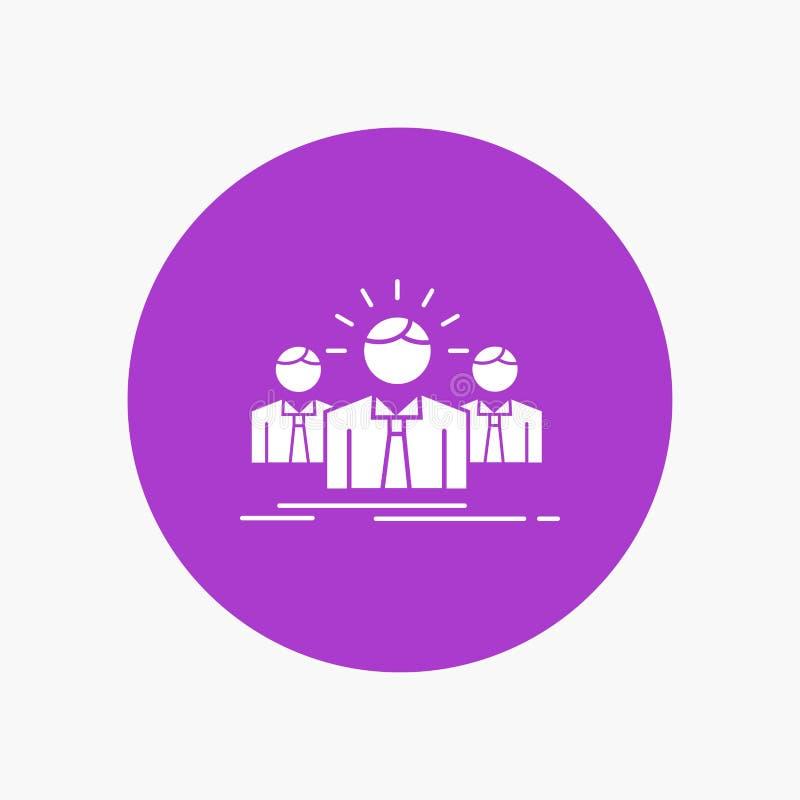 Biznes, kariera, pracownik, przedsiębiorca, lidera glifu Biała ikona w okręgu Wektorowa guzik ilustracja ilustracja wektor