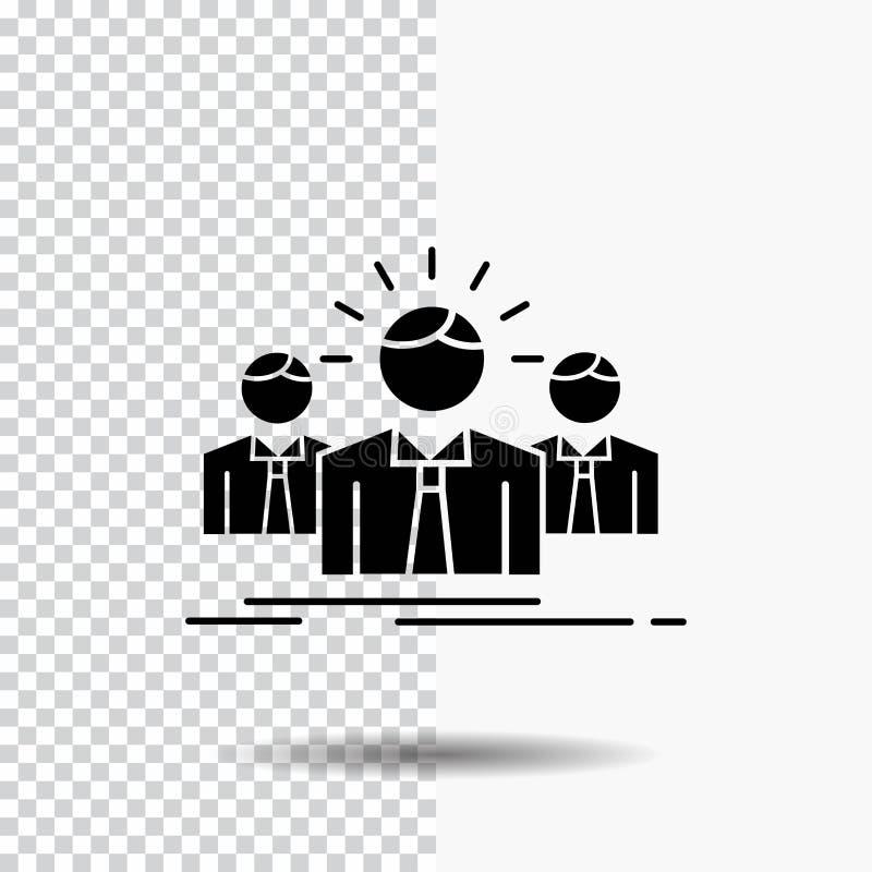 Biznes, kariera, pracownik, przedsiębiorca, lidera glifu ikona na Przejrzystym tle Czarna ikona ilustracji