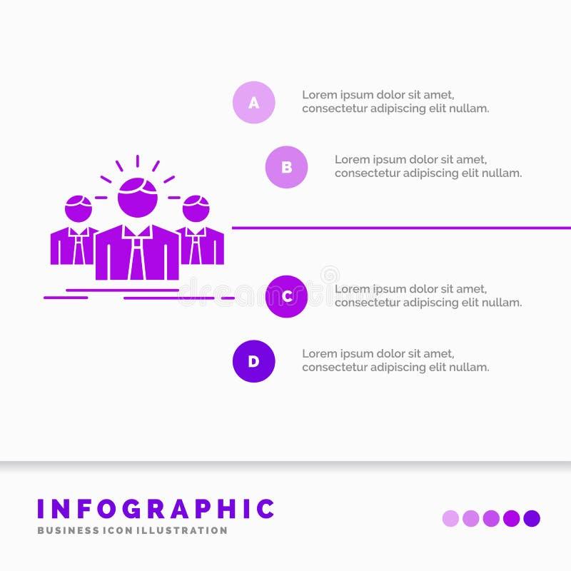 Biznes, kariera, pracownik, przedsiębiorca, lidera Infographics szablon dla strony internetowej i prezentacja, glif Purpurowa iko ilustracji