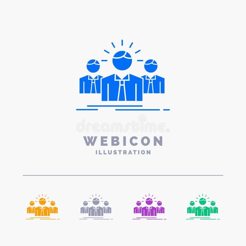 Biznes, kariera, pracownik, przedsiębiorca, lidera 5 koloru glifu sieci ikony szablon odizolowywający na bielu r?wnie? zwr?ci? co royalty ilustracja