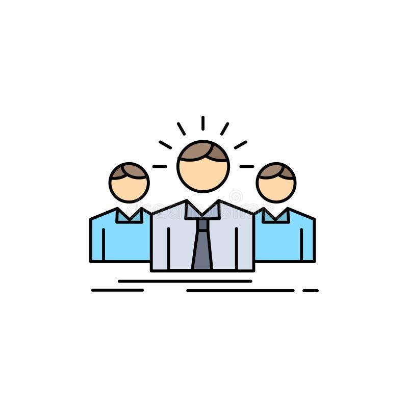 Biznes, kariera, pracownik, przedsiębiorca, lidera koloru ikony Płaski wektor royalty ilustracja