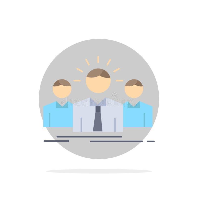 Biznes, kariera, pracownik, przedsiębiorca, lidera koloru ikony Płaski wektor ilustracja wektor