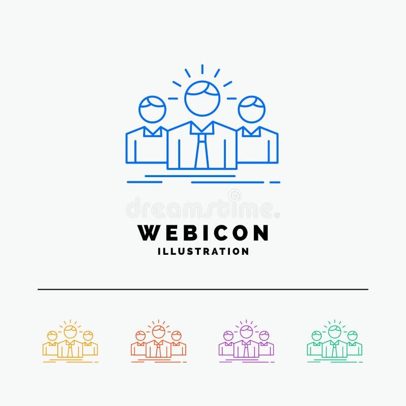 Biznes, kariera, pracownik, przedsiębiorca, lidera 5 koloru linii sieci ikony szablon odizolowywający na bielu r?wnie? zwr?ci? co royalty ilustracja