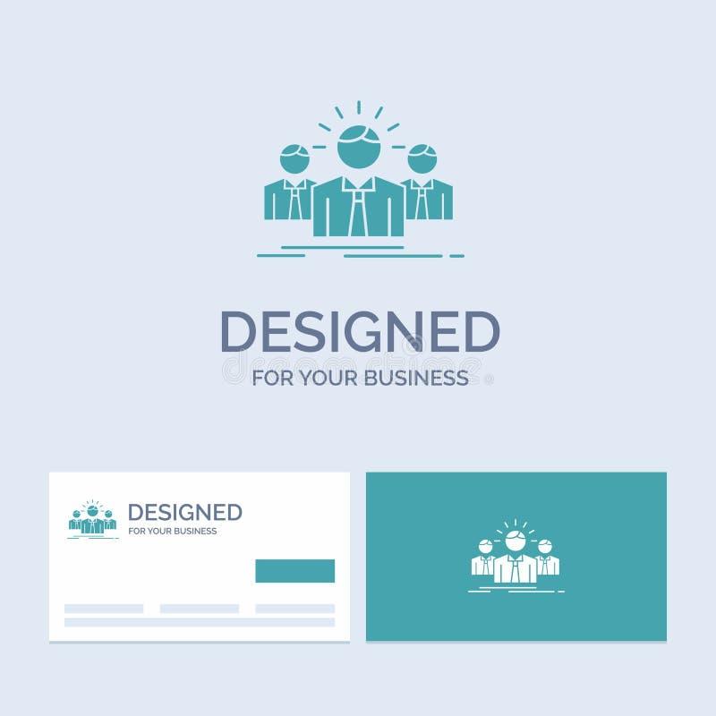 Biznes, kariera, pracownik, przedsiębiorca, lidera logo glifu ikony Biznesowy symbol dla twój biznesu Turkusowe wizyt?wki z ilustracji